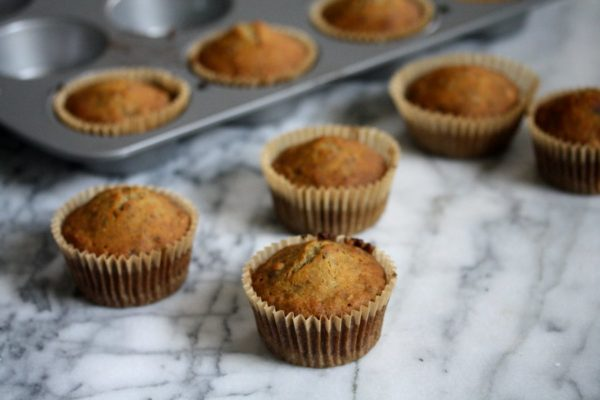 gluten-free banana muffins recipe - can be dressed with chocolate frosting as cupcakes!