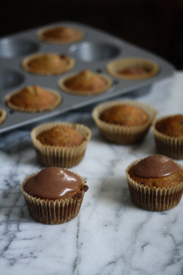 gluten-free banana cupcakes with chocolate frosting - healthy!