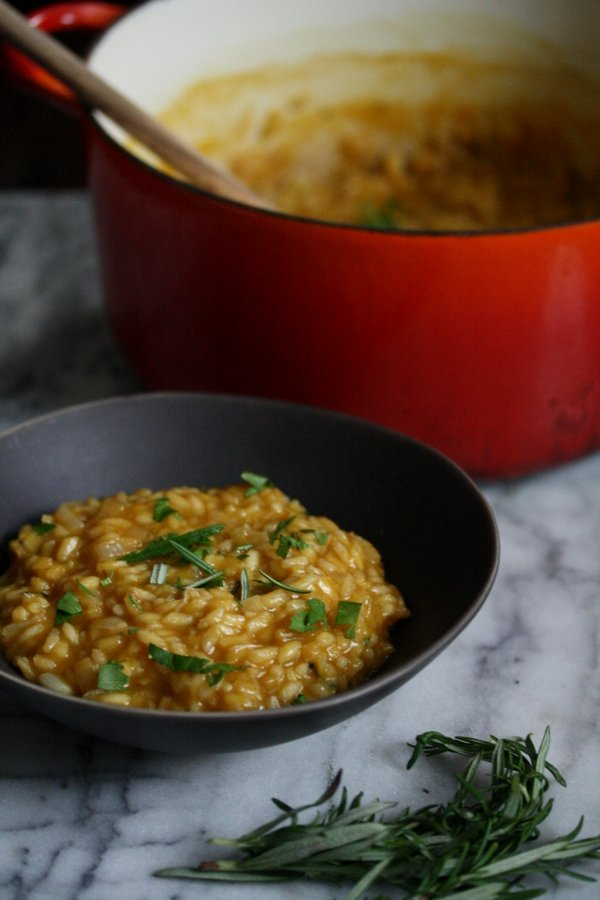 A healthy, vegan pumpkin risotto recipe with rosemary