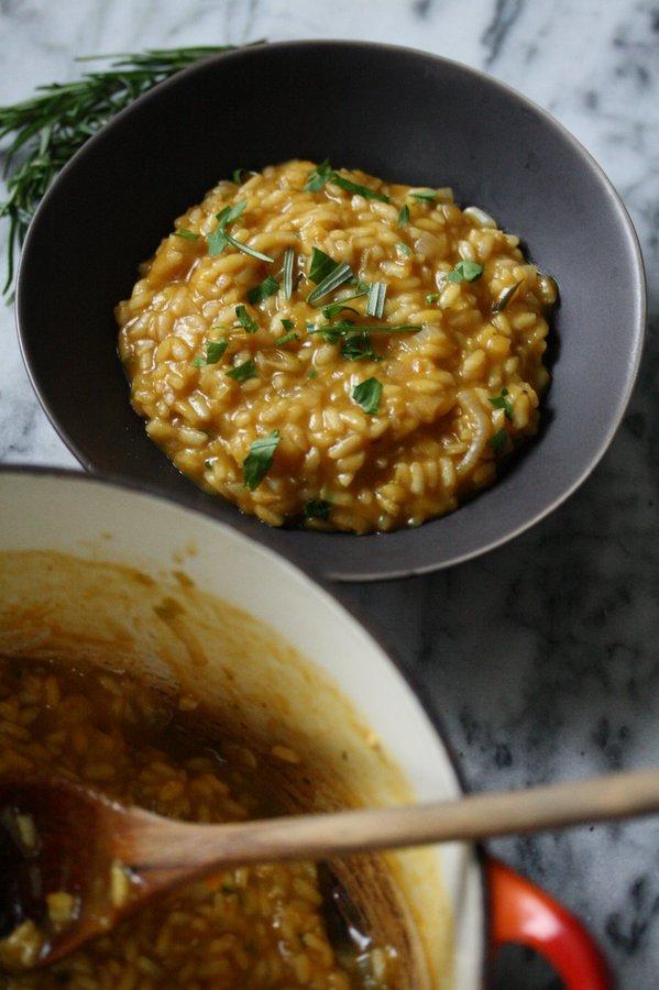 Delicious creamy vegan pumpkin risotto - the best vegetarian dinner