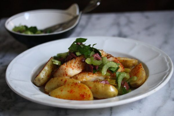 Seared Hake Recipe with Melted Leeks and Fingerling Potatoes | White Fish Recipes
