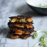 Sweet Potato Latkes with Scallions and Kimchi