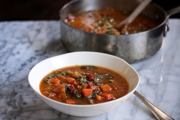 Moroccan Red Lentil Soup with Chard   Easy, Vegetarian, Simple, Healthy