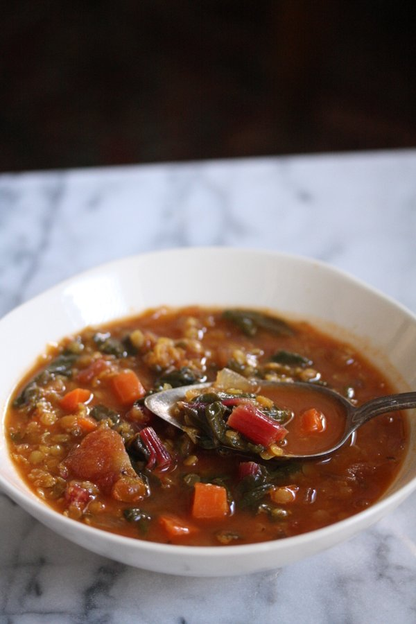 Simple Red Lentil Soup with Chard and Moroccan Spices   Easy, Vegetarian, Simple, Healthy