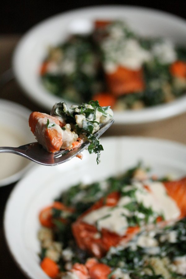Sockeye Salmon and Quinoa Bowl Recipe with Kale and Tahini Yogurt Sauce | Healthy Quick and Easy Dinner Ideas | Gluten-Free