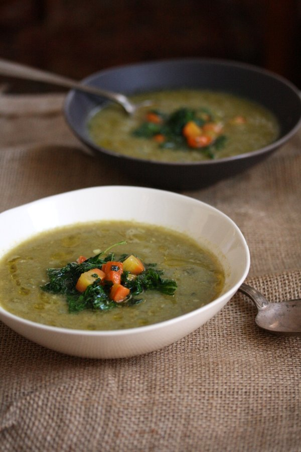Easy Vegetarian Split Pea Soup Recipe with Carrots, Kale and Indian Spices