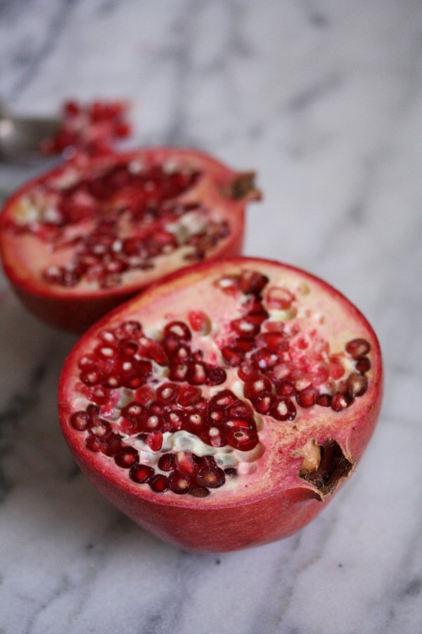 Moroccan Oven Roasted Beet Salad with Almonds and Pomegranate Seeds