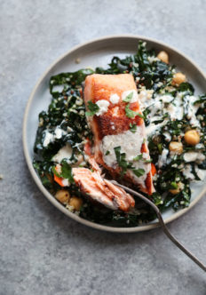 Salmon and Quinoa Bowls with Kale and Tahini-Yogurt Sauce {Video}