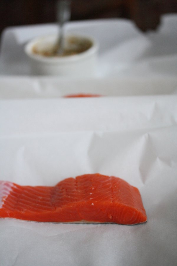 Healthy Baked Sockeye Salmon Recipe - Super Easy in Parchment Paper Packets in the Oven. Topping has Ground Almonds, Soy, Ginger, and Coconut Oil - Healthy and Simple