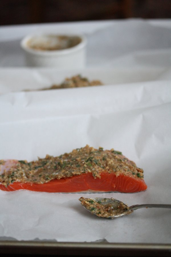 Healthy Simple Baked Salmon Recipe - Topped with an Easy Soy Ginger Almond Crust - Parchment Paper Packets - Wild Sockeye Salmon or Coho for the win!
