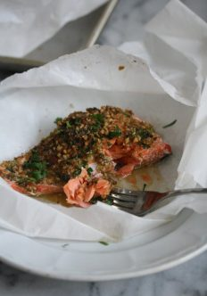 Easy Baked Salmon Packets with Ginger-Almond Crust