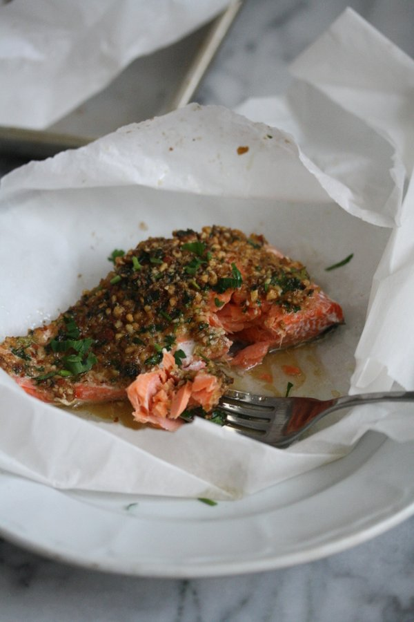 Healthy Easy Baked Salmon Recipe with Almonds, Lemon Zest, Soy, Ginger, and Coconut Oil | Oven Roasted in Parchment Paper Packets for Simple Clean-Up!