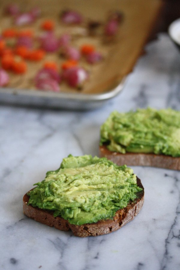 Green Goddess Avocado Toast Recipe with Roasted Spring Vegetables and Tahini Sauce