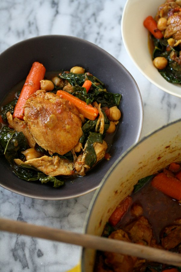 Easy Moroccan Chicken Tagine Recipe with Kale, Chickpeas and Carrots | Healthy, Slow Cooker, Gluten-Free
