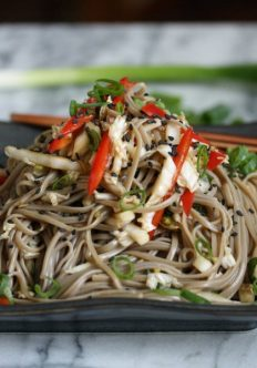 Cold Sesame Soba Noodle Salad with Cabbage Slaw
