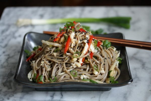 Easy Cold Sesame Soba Noodle Salad with Cabbage Slaw, Peppers, Scallions and Gluten-Free Buckwheat Soba Noodles | Healthy, Dairy-free Asian Noodle Salad