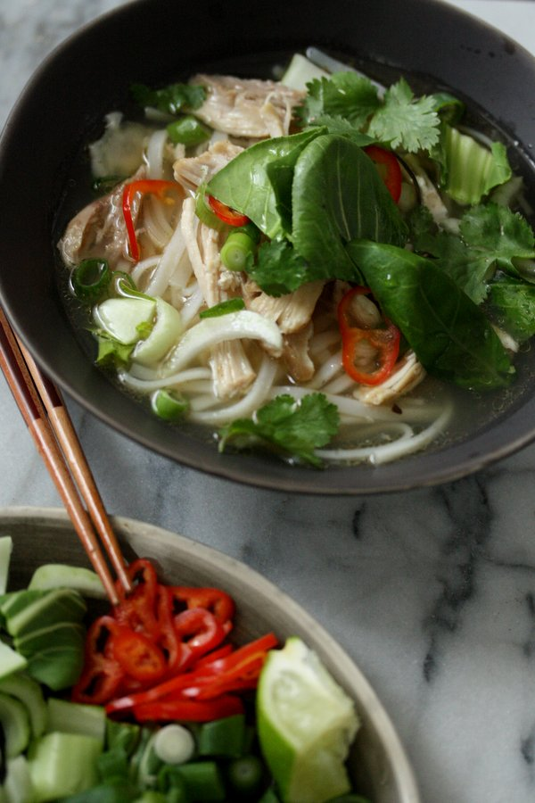 Easy Vietnamese Chicken Pho Recipe with Bok Choy, Chilese, and Herbs (Pho Ga Recipe) | A Quick Version of the Classic | Healthy Main Course