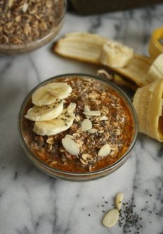 Maple-Chia Overnight Oatmeal with Almond Butter