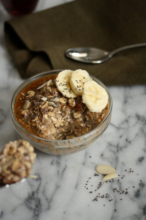 Maple-Chia Overnight Oatmeal Recipe with Almond Butter and Banana in the Refrigerator | Raw, Healthy, Vegan, Gluten-Free