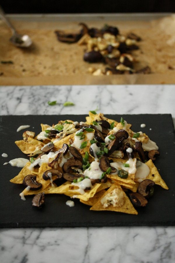 Vegetarian Healthy Nachos Recipe with Roasted Mushrooms, Jalapeno Chiles, Scallions, and a Cauliflower Cheese Sauce | The Best Low Fat Gluten-Free Queso