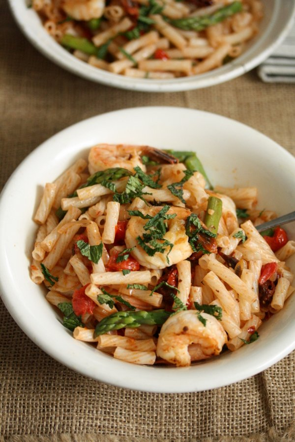 Easy Shrimp Pasta Salad Recipe With Asparagus Tomatoes