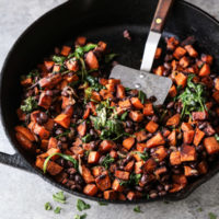 sweet potato black bean hash in a skillet