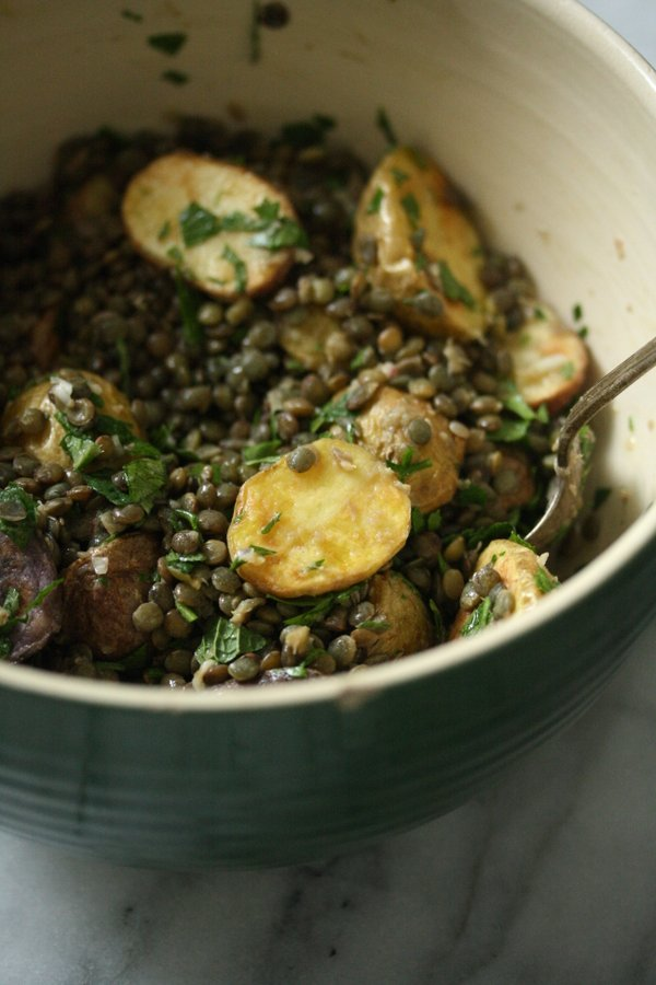 French Green Lentils get tossed with Roasted Baby Potatoes, Fresh Herbs, and Red Wine Dijon Vinaigrette in this Health Salad Recipe, Served Warm or Cold