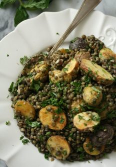 French Lentil Salad with Roasted Baby Potatoes and Herbs