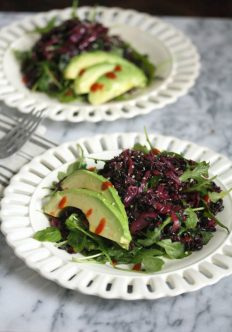 Asian Braised Red Cabbage Slaw with Black Rice, Arugula and Avocado