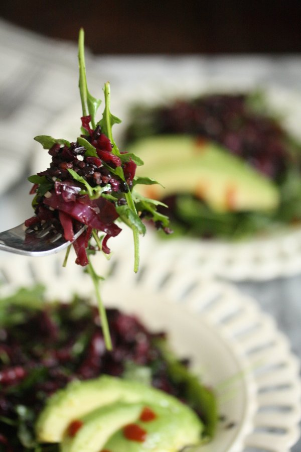 Asian Braised Red Cabbage Recipe with Black Rice and Arugula | Warm Purple Cabbage Slaw | Easy, Healthy Salad