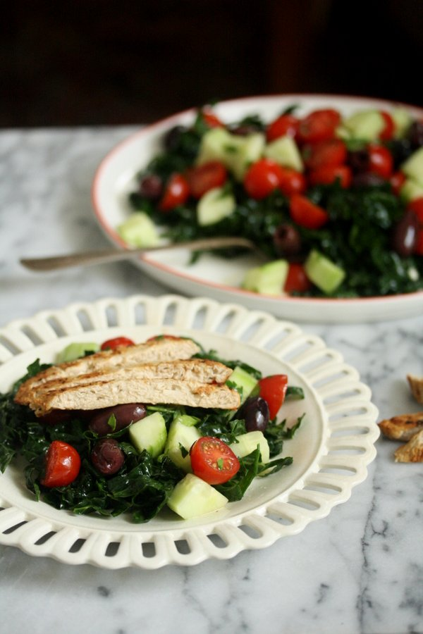Greek Kale Salad with Chick'n | Healthy Salad Recipes | Vegan