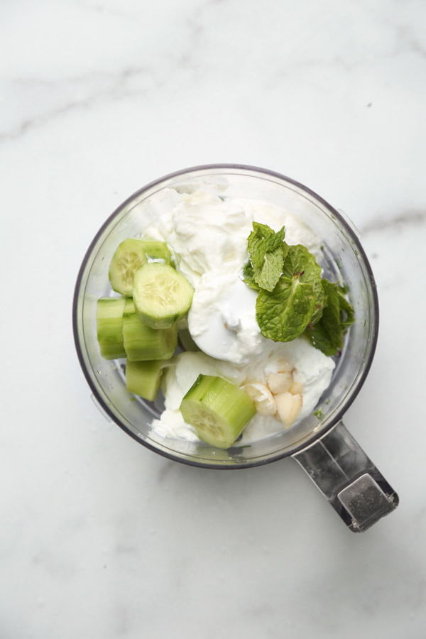 Mint Greek Tzatziki Sauce in a Food processor