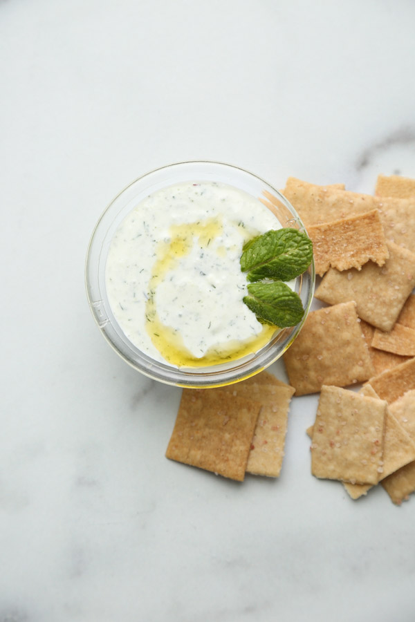 Mint Greek Tzatziki Sauce in a Bowl