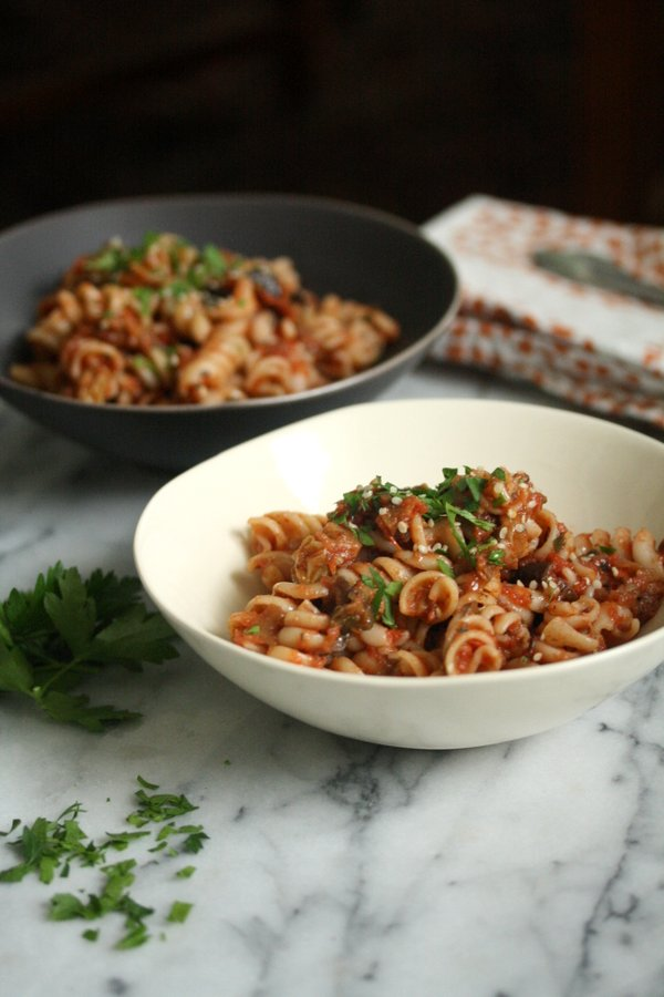 Moroccan Eggplant Caponata Pasta Salad | Easy Summer Recipe