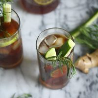 Pimm's Cup Cocktail with Fresh Ginger, Lime and Tarragon