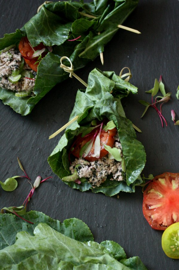 Vegan Tuna Salad Collard Green Wraps | Gluten-Free Recipe