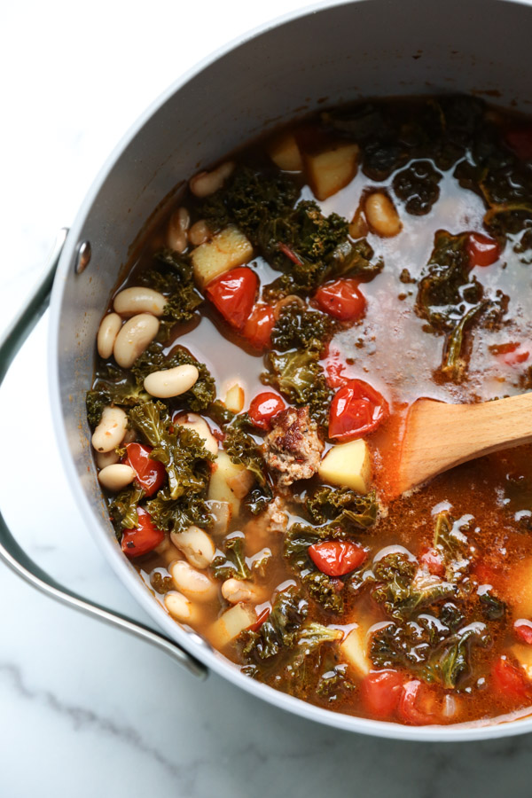 Traditional Portuguese Kale Soup in a pot