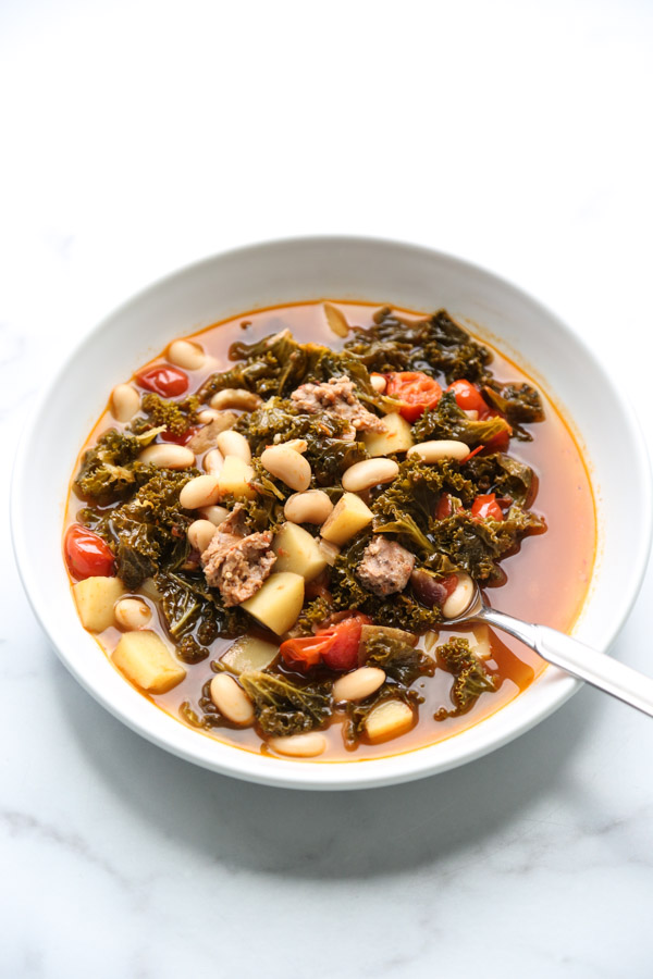 Traditional Portuguese Kale Soup in a bowl