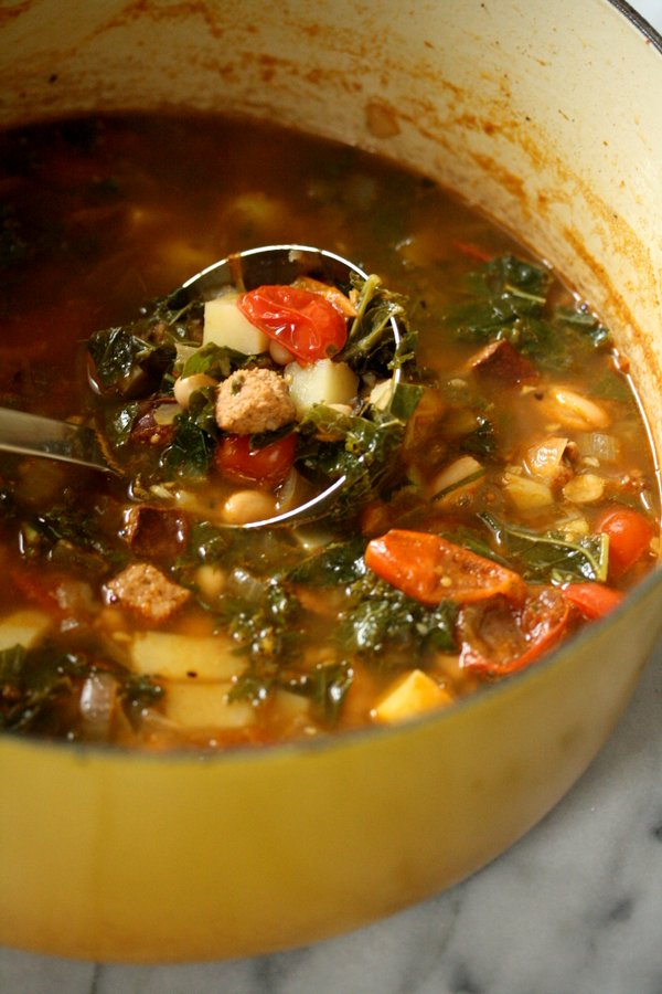 Healthy Authentic Portuguese Kale Soup Recipe (Caldo Verde) with Sausage and Potatoes