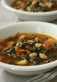 Portuguese Kale Soup (Caldo Verde) with Linguica and Cherry Tomatoes