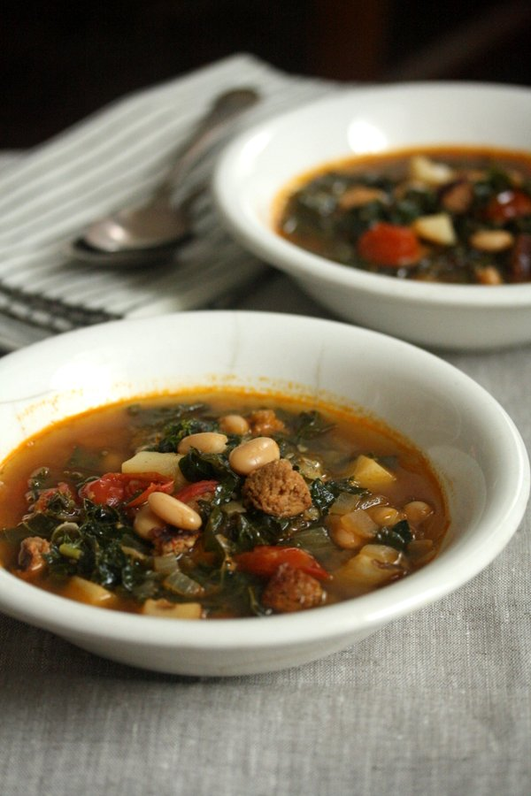 Healthy Authentic Portuguese Kale Soup with Sausage and Potatoes