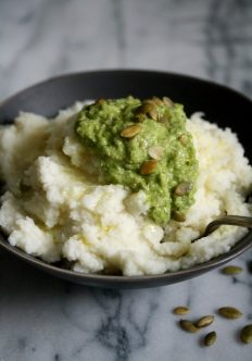 Paleo Cauliflower Mashed Potatoes with Pumpkin-Seed Scallion Pesto