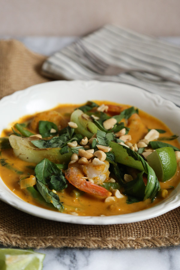Pumpkin Red Curry with Thai Spices, Shrimp, Bok Choy and Ginger | Healthy!