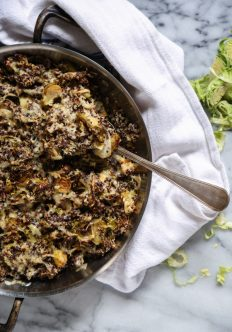 Quinoa Brussels Sprout Gratin with Smoked Cheddar