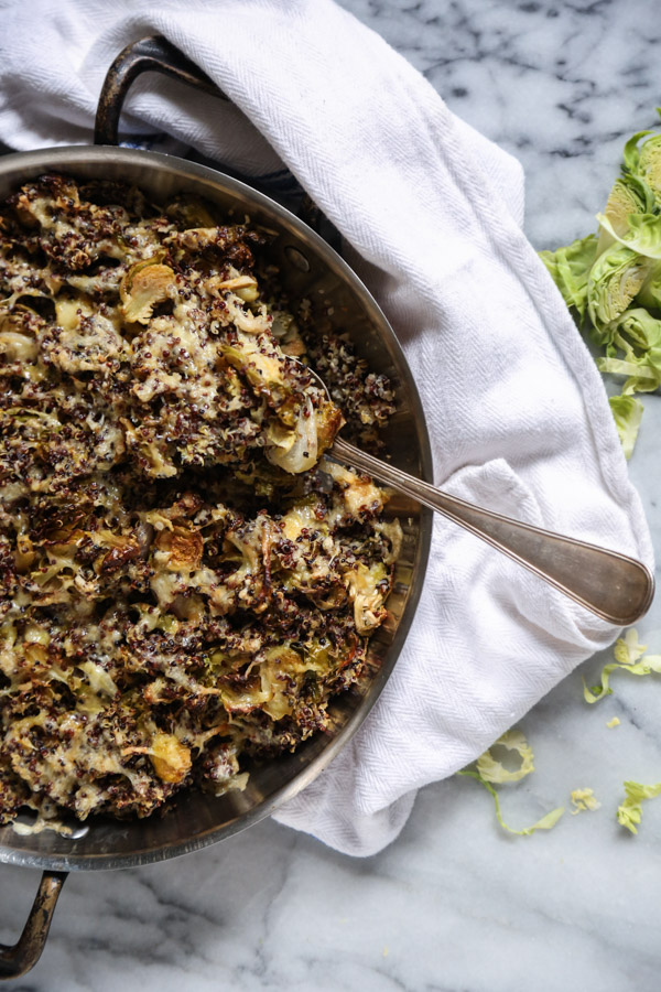 Brussel Sprout au Gratin Recipe with Quinoa and Cheddar Cheese | Gluten-Free Gratin Recipe