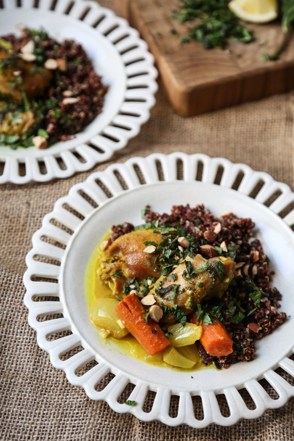 Moroccan Spiced Chicken Thighs Recipe with Carrots, Shallot, Turmeric, and Quinoa | An Easy Take on a Tagine - the classic Moroccan Chicken Stew