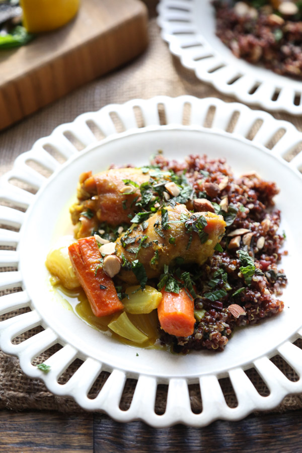 Easy Moroccan Chicken Recipe | Baked Spiced Thighs with Carrots and Shallots