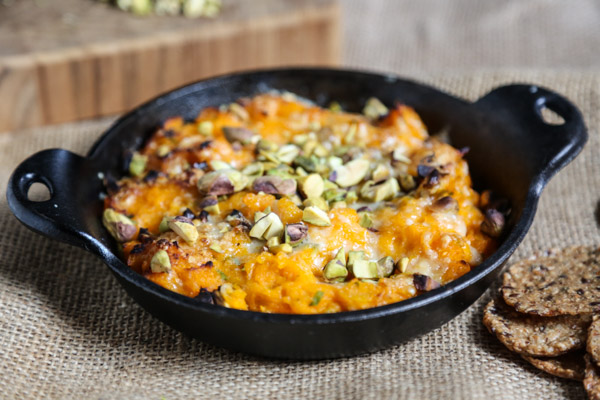Warm Butternut Squash Dip with Gruyere and Pistachios