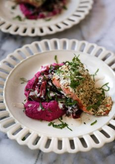 Hemp Crusted Salmon with Beet Hummus, Greens, and Lemon-Tahini Sauce