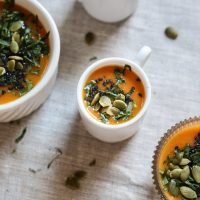 Creamy Roasted Carrot Soup with Miso and Black Sesame